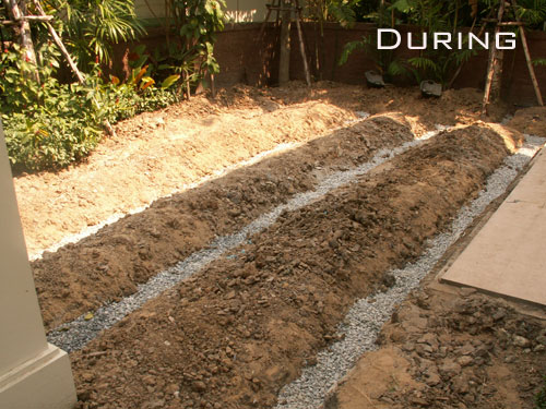 Adding Drainage Pipes To Your Lawn In Thailand Thai Garden